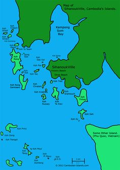 Map of the Islands around Sihanoukville, Cambodia. Sihanoukville is the city Hannah is moving to.