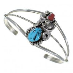 Coral Sterling Silver Turquoise Native American Bracelet TX46292