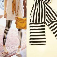 Vertical stripe leggings.