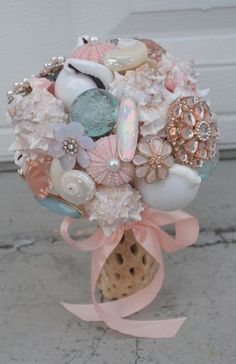 Shell Jewelry & Brooch Bouquet by HarmonyCreative on Etsy, $500.00