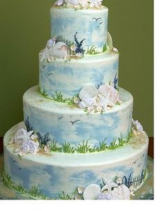 Wedding, Reception, Cake, White, Brown, Blue, Yellow, Inspiration