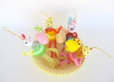 Vintage Style Easter Ornaments Set Of 4 Spun Cotton Heads
