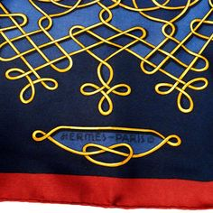 Authentic Vintage Hermes Silk Scarf Vinci Navy Stunning Early Issue RARE