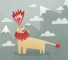 the fire breathing lion. #illustration