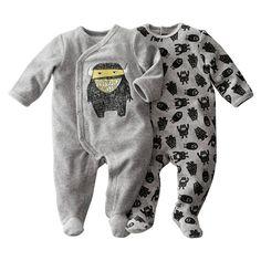 Lote de 2 pijamas com pés em veludo R baby