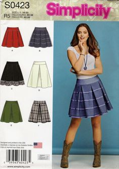 Simplicity 0423 Misses' Skirts with Length and Trim Variations