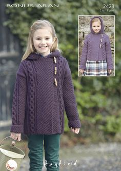 Long & Short Hooded Coats in Hayfield Bonus Aran - Discover more Patterns by Hayfield at LoveKnitting. The world's largest range of knitting supplies - we stock patterns, yarn, needles and books from all of your favorite brands. Knitting Patterns Uk, Coat Patterns, Cardigan Pattern, Long Shorts, Knitting For Kids, Mantel, Knit Crochet, Creations, Couture