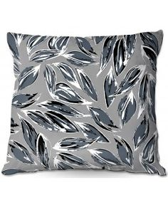 DiaNoche Designs Outdoor Throw Pillows | Zara Martina - Grey Leafy Layers | Leaves Patterns | Grey White Black