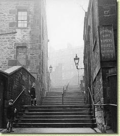 Brown's Close. Steps from the Grassmarket looking up to the Flodden Wall.