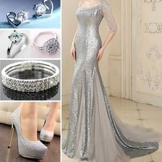 Nice fancy silver dress and accessories