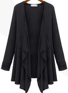 Black Long Sleeve Slim Casual Cardigan 16.00