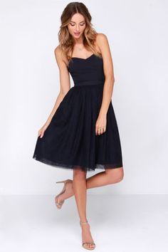LULUS Exclusive Ballet Liaisons Strapless Navy Blue Dress