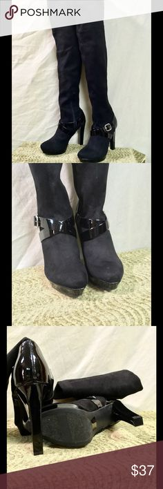 """💰SALE‼️Jennifer Lopez Over The Knee Boots NWOT These boots were made for walkin! Beautiful Faux-suede black boots by Jennifer Lopez. They have a faux patent leather detail around the ankles with a silver buckle. These are in NWOT condition, never worn. Over the knee. Heel height is approx 5"""" and platform height is approx 0.75"""". The height of the entire boot from the top to the bottom of the heel is approx 28"""". Jennifer Lopez Shoes Over the Knee Boots"""