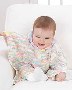 Knit Hooded Baby Poncho