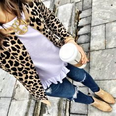 IG: @mrscasual | Leopard sweater & white ruffle top