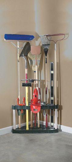 Garden Tool Rack Garage Corner Organizer Shed Storage Space Saver Yard Lawn Bin…