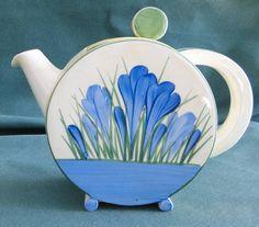 Blue Crocus Bon Jour teapot by Clarice Cliff
