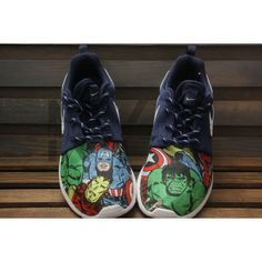 Marvel Avengers Nike Roshe Run Navy Comic Superheroes v5 Custom ($180) ❤ liked on Polyvore featuring accessories, dark olive, shoes, unisex adult shoes and comic book