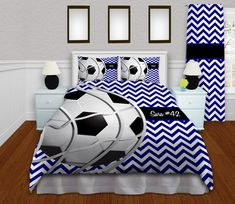 Blue Soccer Comforter, Nice Chevron teen bedding, great place to buy bedding comes in King, Queen/full, Twin comforter sets, Team bedding #1 by EloquentInnovations on Etsy