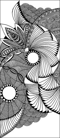 flying fans black and white zentangle by myslewis, Sharla Hicks Comment:  Love the composition of this piece
