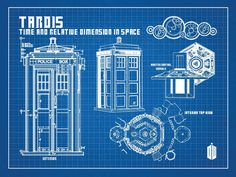 Blue prints for the exterior of the tardis doctor who pinterest doctor who tardis blueprint graphic art malvernweather Images