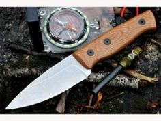 Fiddleback Forge (Andy Roy) Production Bushfinger Fixed Blade Bushcraft / Hunting / Outdoor / Survival / Camping Knife w/ Natural Canvas Micarta Handle