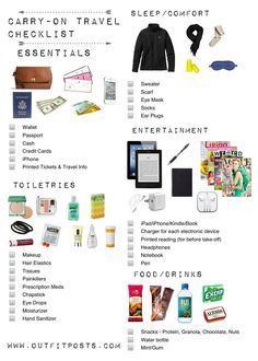 Carry-On Tote Travel Checklist - Big
