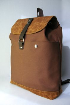 Brown/Tan Waxed Canvas Backpack by colleenpeddycord on Etsy, $58.00