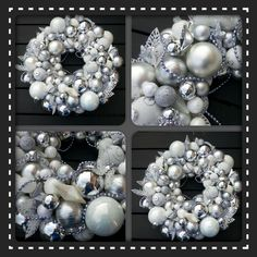 silver and white wreath, they are so much fun to make