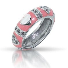 Bling Jewelry Pink Enamel CZ Stackable Silver Heart Ring