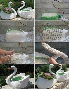Garden Crafts 34 Easy and Cheap DIY Art Projects to Beautify Your Backyard Landscape Garden Crafts, Garden Projects, Garden Art, Garden Ideas, Concrete Crafts, Easy Art Projects, Recycled Art Projects, Bottle Garden, Outdoor Crafts