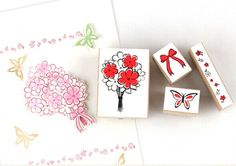 Set of 4 pcs Korea New Scrapbooking DIY Wooden Rubber by 2to2lm