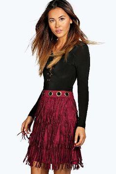 Suedette Fringed Eyelet Skirt berry - boohoo