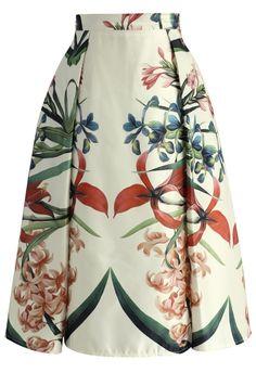 Tropical Garden Floral Midi Skirt
