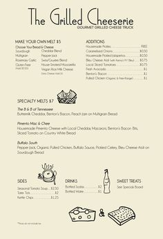 MENU & SPECIALS | The Grilled Cheeserie Truck - Nashville