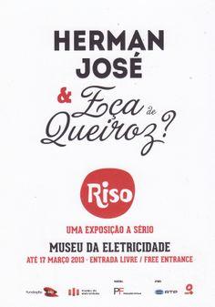 """Postal publicitário do Museu da Eletricidade alusivo às Exposições Riso, neste caso """"Herman José & Eça de Queiroz"""""""