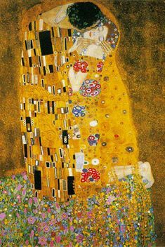 This kiss, as painted by Klimt, looks so tender. Doesn't the woman seem as though she's just melting into the embrace? #Klimt
