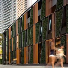 Facade of glass and timber screens with green wall insertions to a Bangkok showroom by architects Sansiri and landscapearchitects Shma.