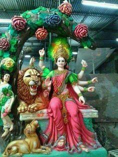 Hindu goddess Jai Mata Di but in kitch float Lord Durga, Durga Ji, Saraswati Goddess, Lord Shiva, Shiva Parvati Images, Durga Images, Shiva Shakti, Navratri Wallpaper, Vaishno Devi