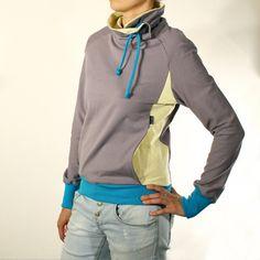 Grey sweatshirt, Cowl neck sweatshirt, Cozy sweatshirt, Extra long sleeves (M033N2) on Etsy, $77.95