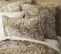 Alessandra Floral Reversible Duvet Cover, Full/Queen, Gray - traditional - duvet covers - Pottery Barn