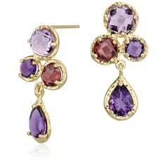 Let your colorful side shine through with these drop earrings, featuring lavender amethyst and rhodolite garnet gemstones set in a stylish 14k yellow gold fram…