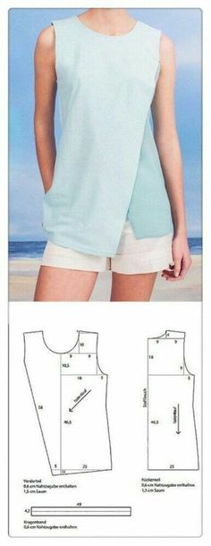 Ideas for crochet clothes for women free sewing tutorials How To Make Clothes, Diy Clothes, Clothes For Women, Crochet Clothes, Blouse Patterns, Clothing Patterns, Sewing Patterns, Simple Blouse Pattern, Women's Clothing