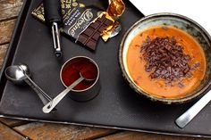 pumpkin soup with chili and chocolate