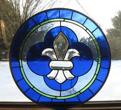 Toulouse Round  Stained Glass Panel Mardi Gras by TreasuresOfLight, $149.00
