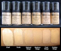 Revlon Photoready Foundation Swatches // this does work good if you want to look good in PHOTOS. but my absolute fave drug store foundation is Revlon 24 hr colorstay it's the BEST drug store foundation, hands down! Comparable to MAC. Kiss Makeup, Love Makeup, Makeup Tips, Makeup Products, Beauty Products, Makeup Geek, Makeup Forever Hd Foundation, Best Foundation, Awesome Foundation