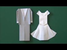 "Marriage ceremony ""Wedding dress"" origami - YouTube"