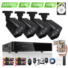 Rraycom 4 Outdoor HD 2000TVL Home Security Camera System with 8 Channel 1080H 2.0MP AHD Surveillance DVR 500GB Hard Drive