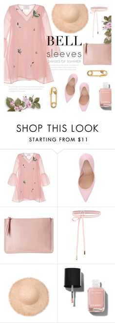 """""""It's Still Summer Here."""" by alexandrazeres ❤ liked on Polyvore featuring Zayan The Label, Gianvito Rossi, Chanel, IaM by Ileana Makri, allpink, stillsummer, shadesofsummer and bellsleeves"""