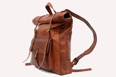 Leather Roll Top Backpack / Rucksack  Vintage by LeftoverStudio